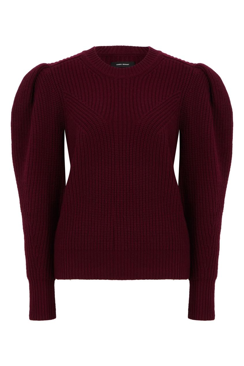 Бордовый шерстяной свитер с объемными рукавами