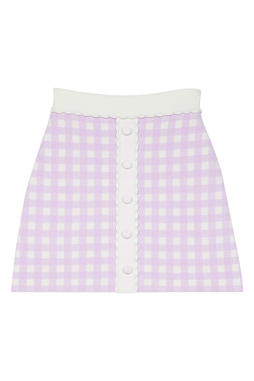 Клетчатая юбка лавандового цвета