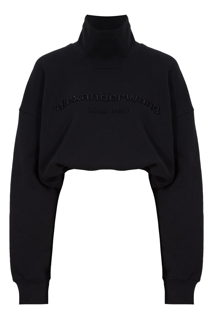 Укороченный черный свитер