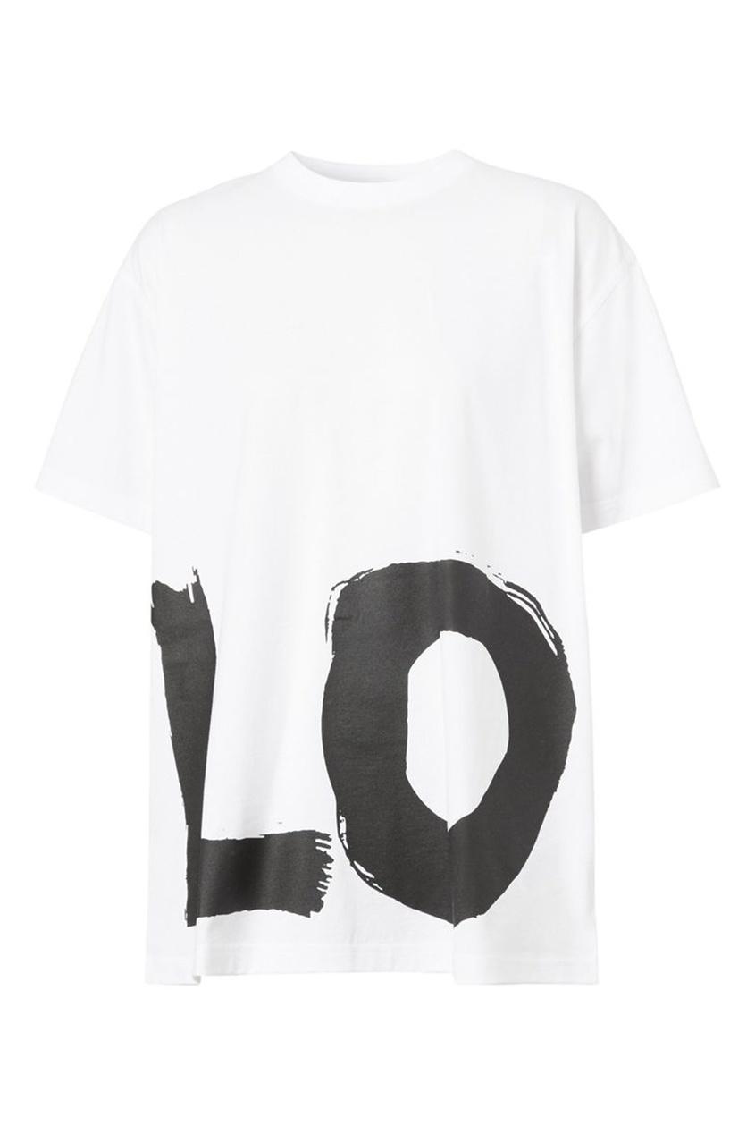 Белая футболка оверсайз с черной надписью Love