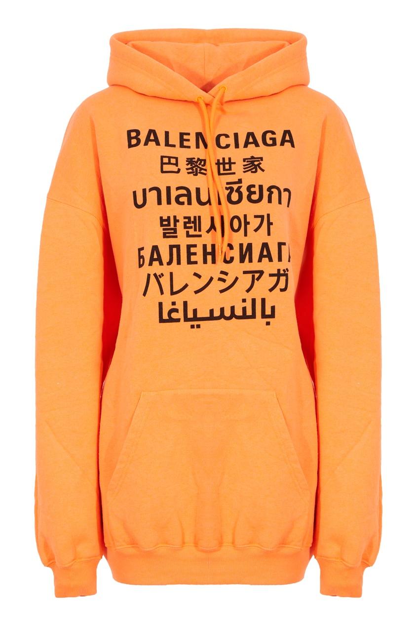 Оранжевое худи с надписями Languages