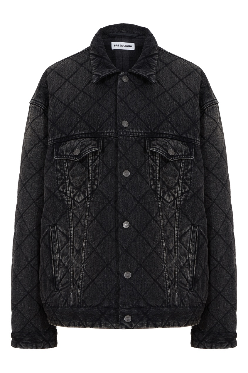 Черная куртка из стеганого денима