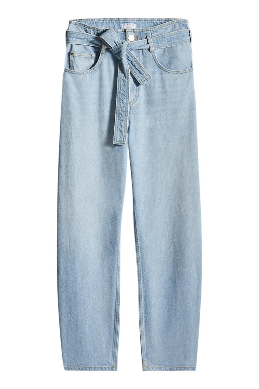 Голубые джинсы с поясом