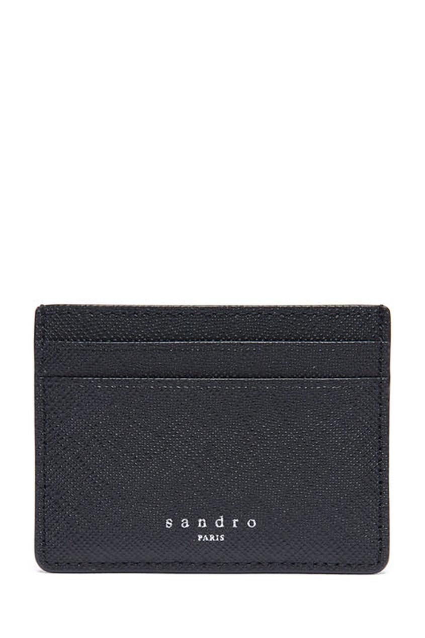 Черный кожаный картхолдер Sandro. Цвет: черный