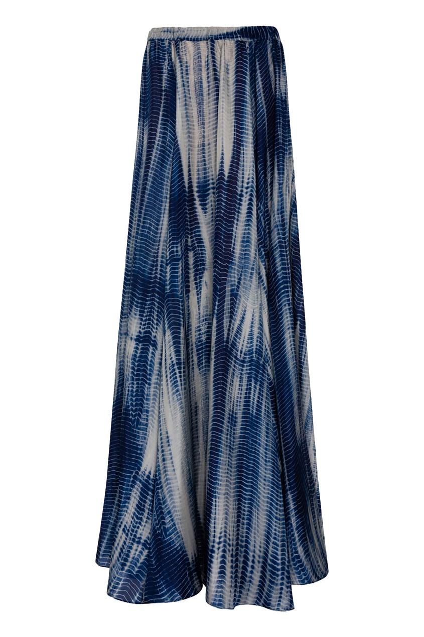 Шелковая юбка цвета индиго с принтом