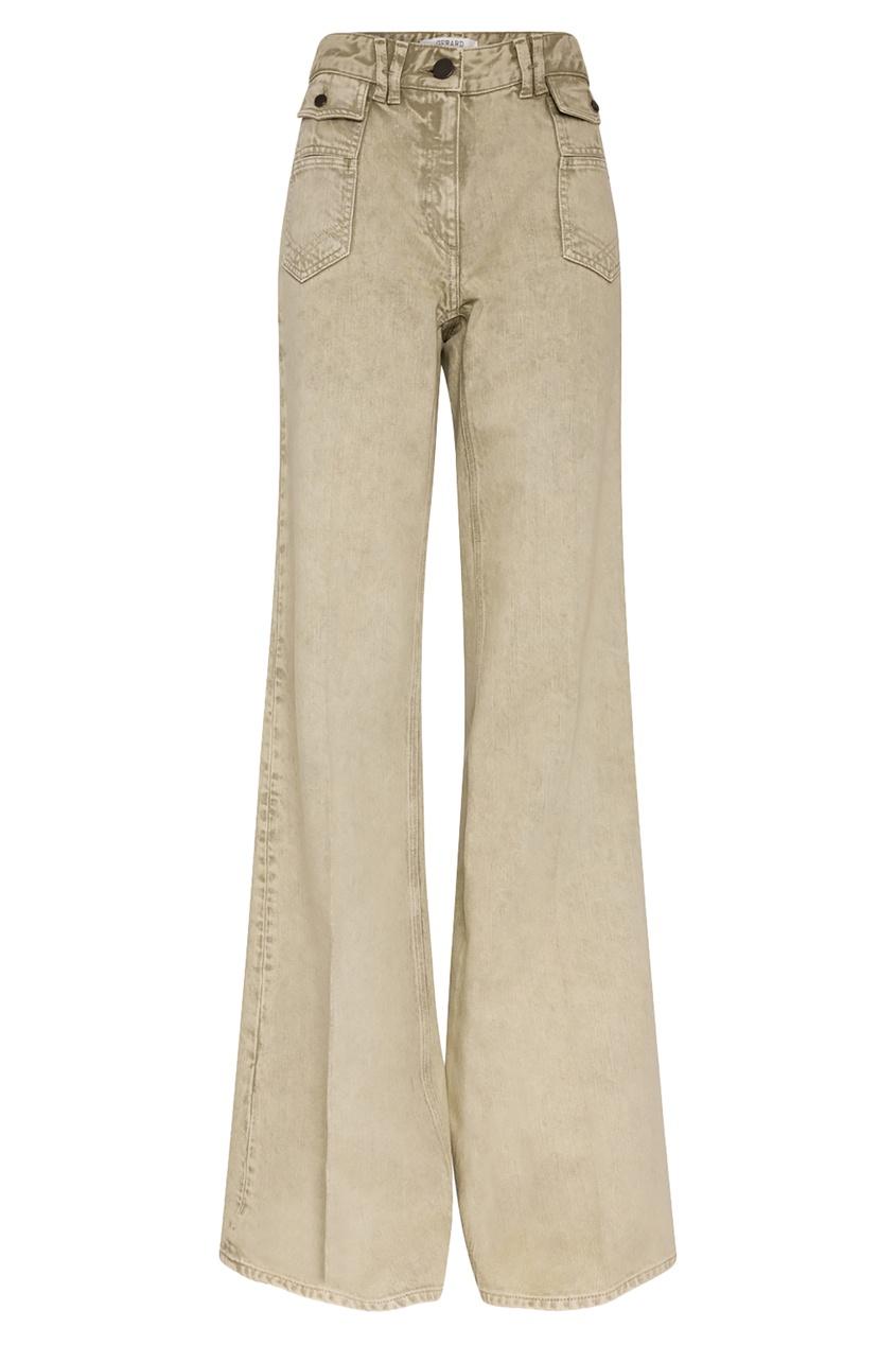 Расклешенные джинсы цвета хаки