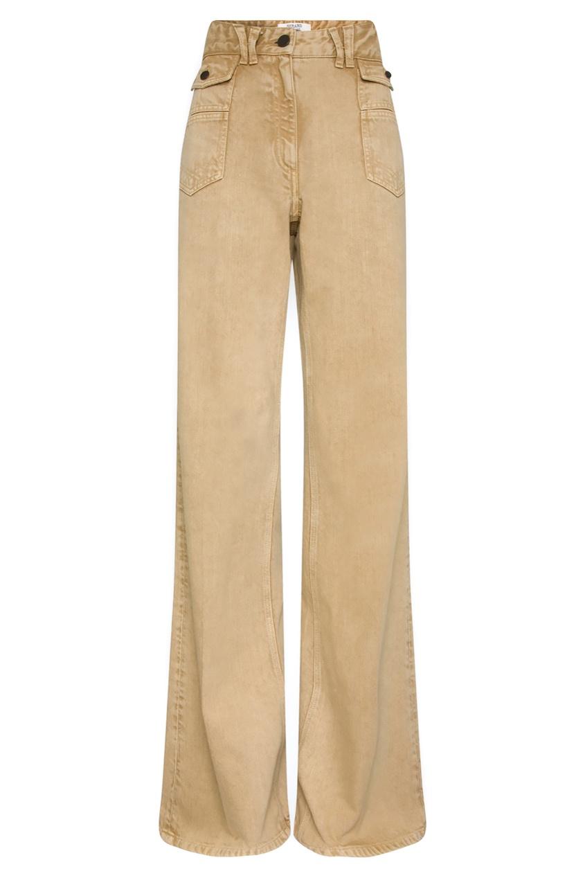 Расклешенные джинсы песочного цвета