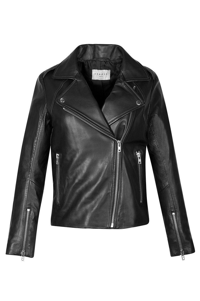 Черная кожаная куртка-косуха Sandro. Цвет: черный