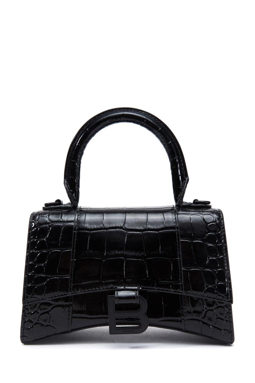 Черная сумка из кожи Hourglass XS