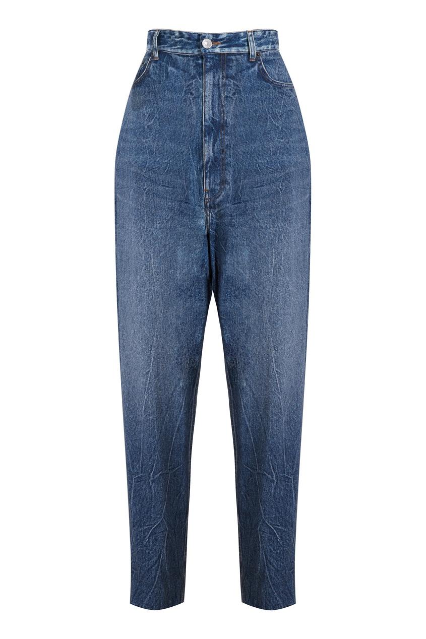 Синие прямые джинсы Trompe-l'œil Balenciaga цвет streaky blue