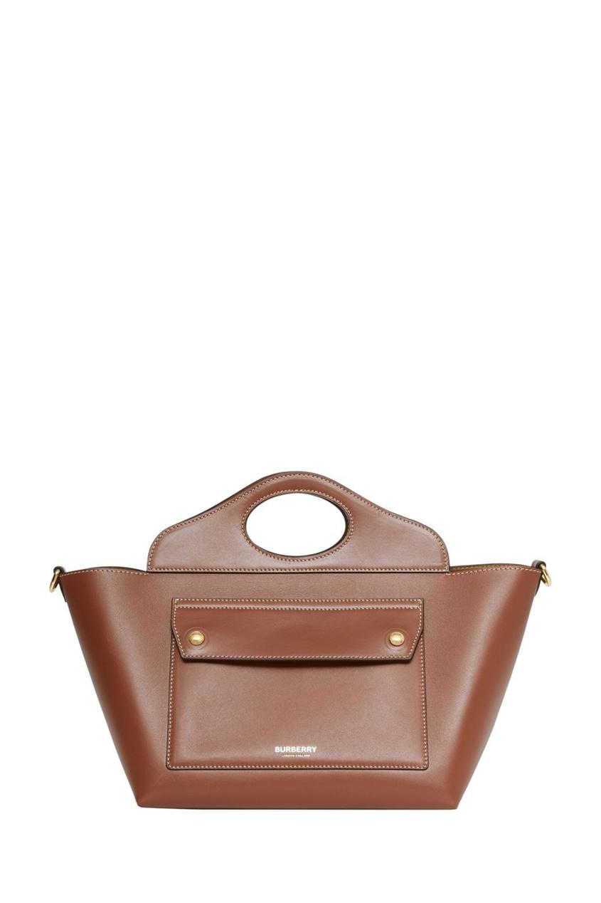 Миниатюрная коричневая сумка-тоут из кожи Pocket