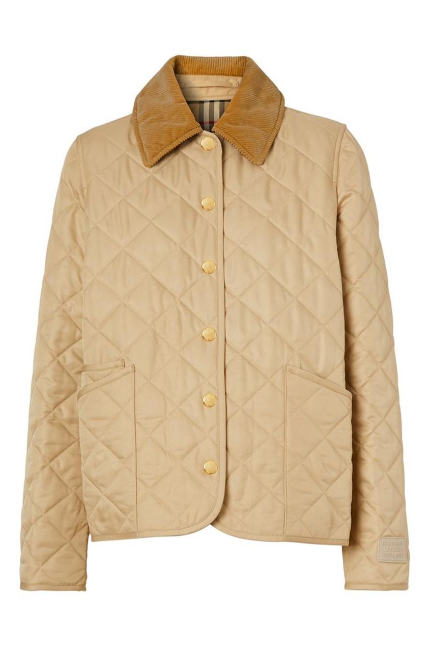 Стеганая куртка бежевого цвета с воротником из вельвета