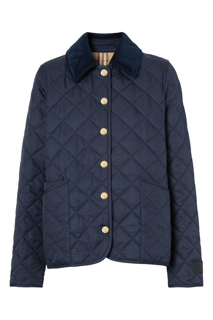 Синяя стеганая куртка с воротником из вельвета