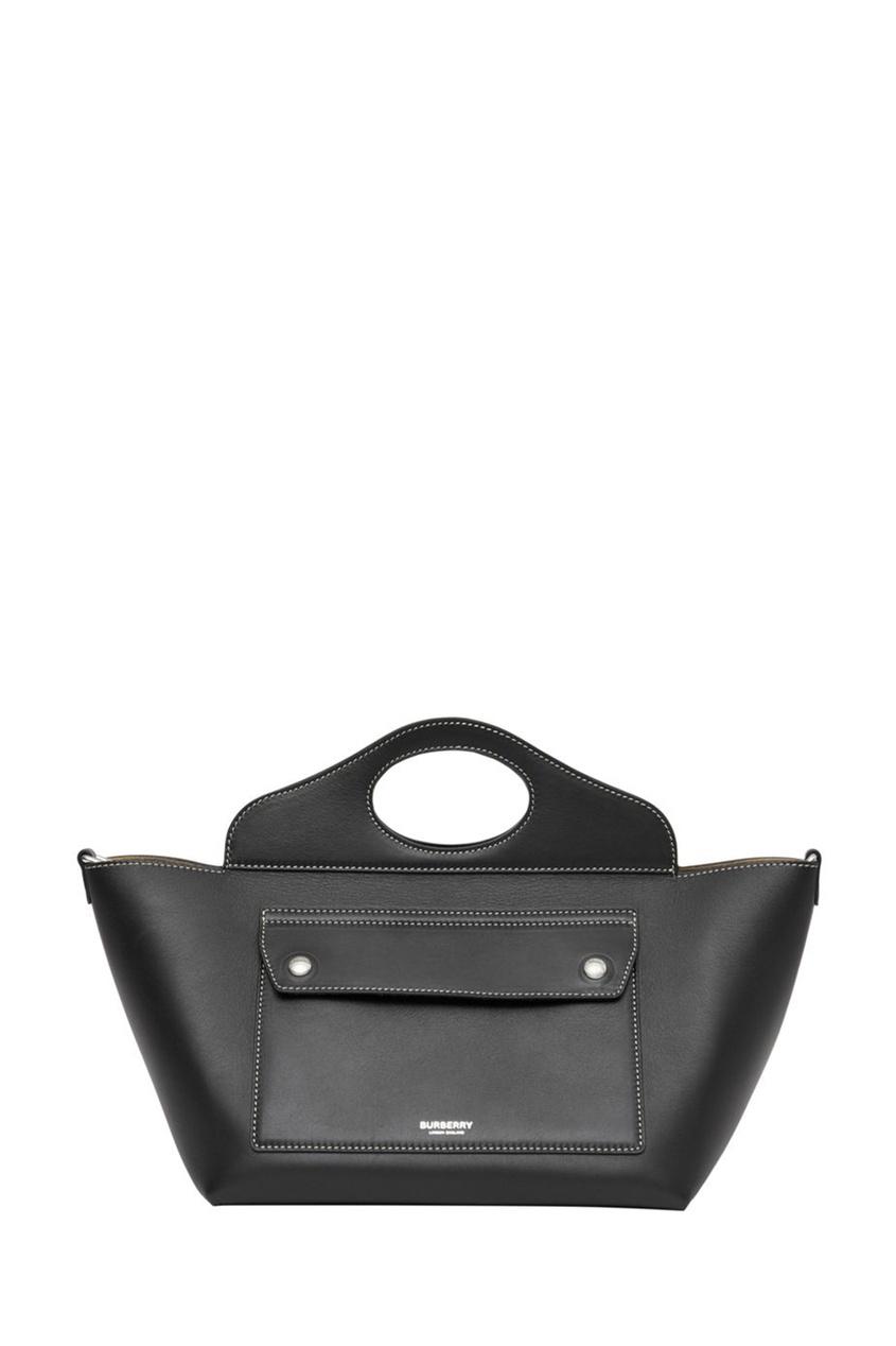 Миниатюрная черная сумка из кожи Pocket
