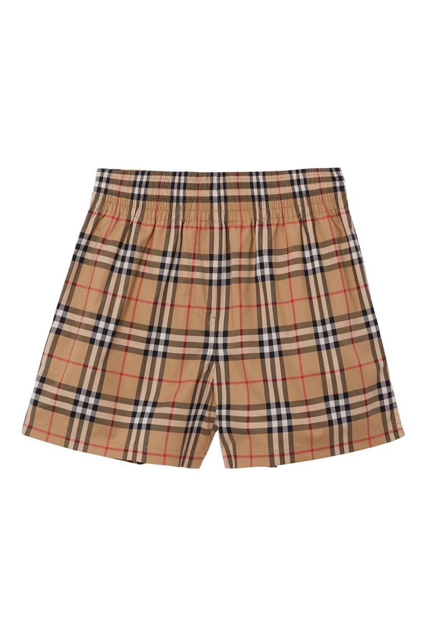 Бежевые клетчатые шорты из хлопка Burberry бежевого цвета