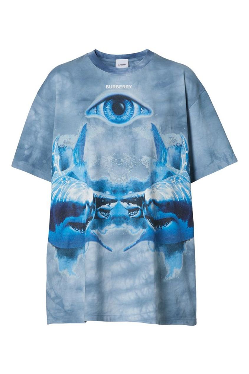 Голубая футболка оверсайз с принтом Shark