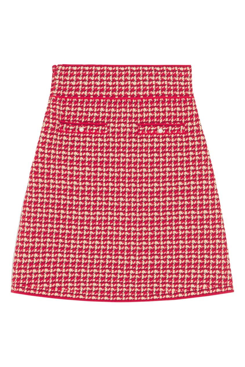 Красная юбка-мини из твида