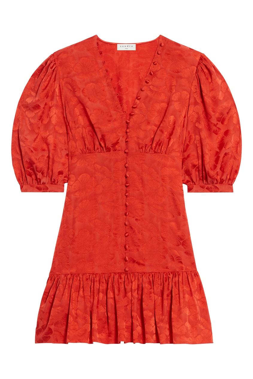 Красное шелковое платье с однотонным принтом