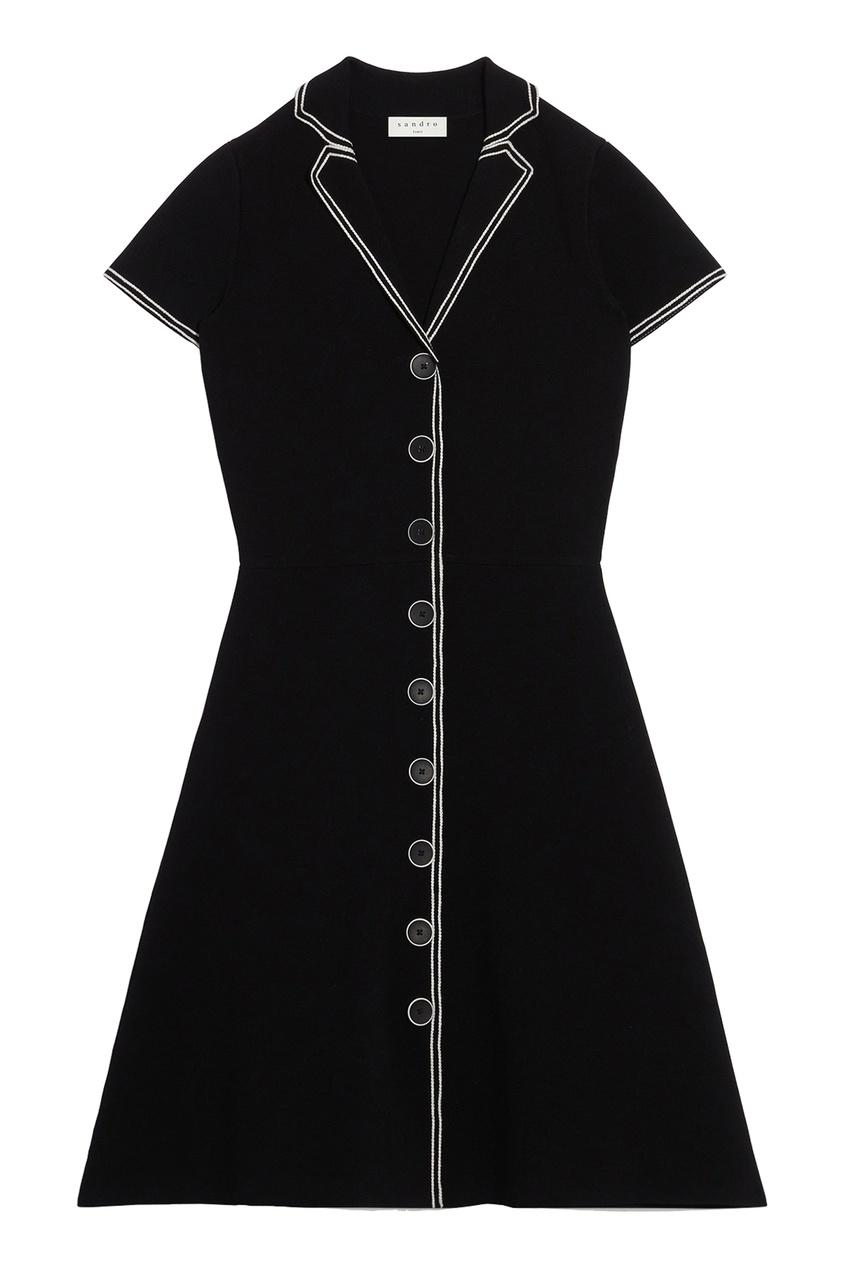 Черное платье-рубашка из трикотажа