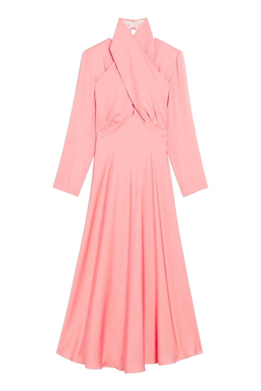 Розовое платье с драпированным воротником