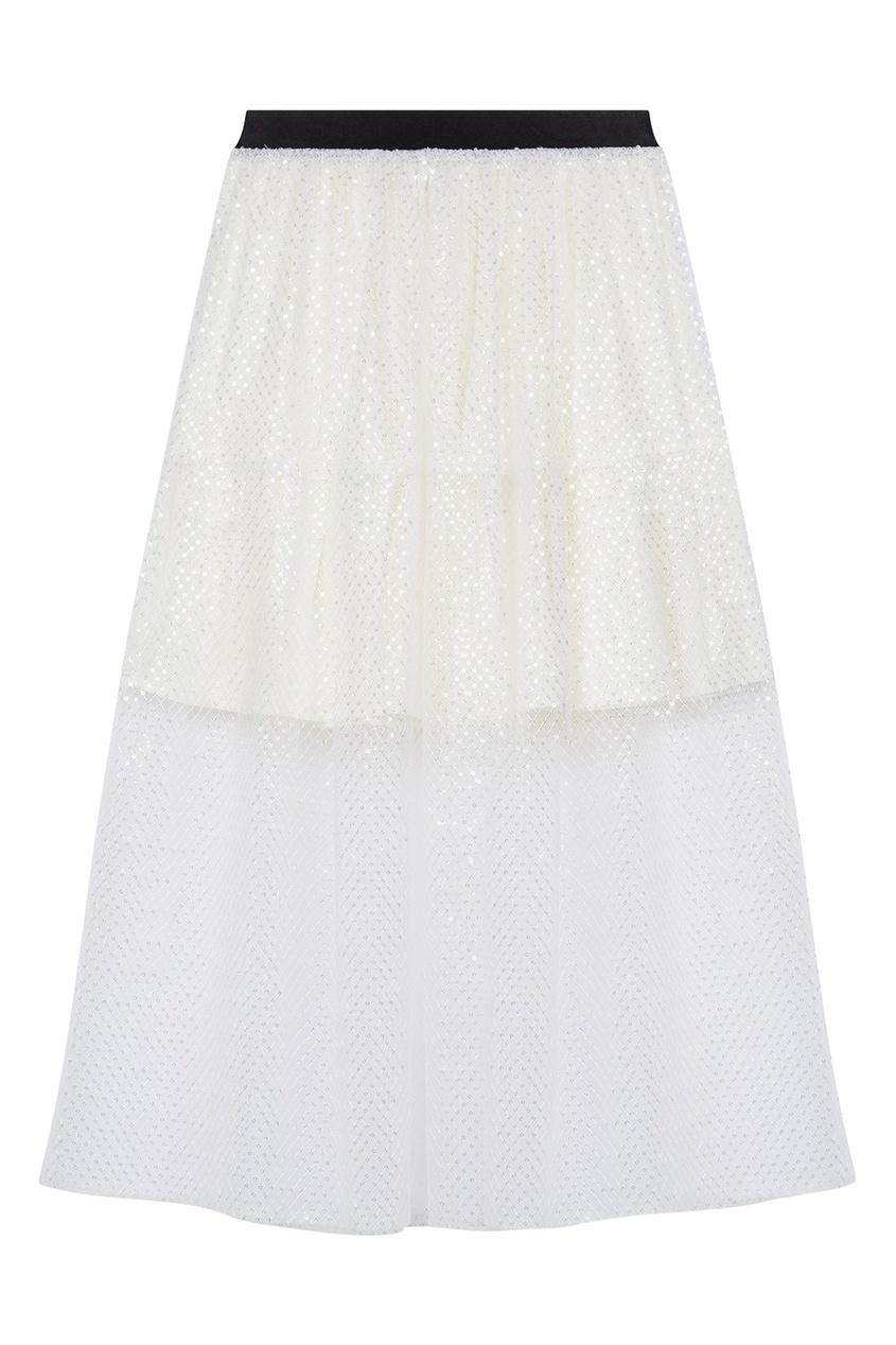 Белая двухслойная юбка с пайетками