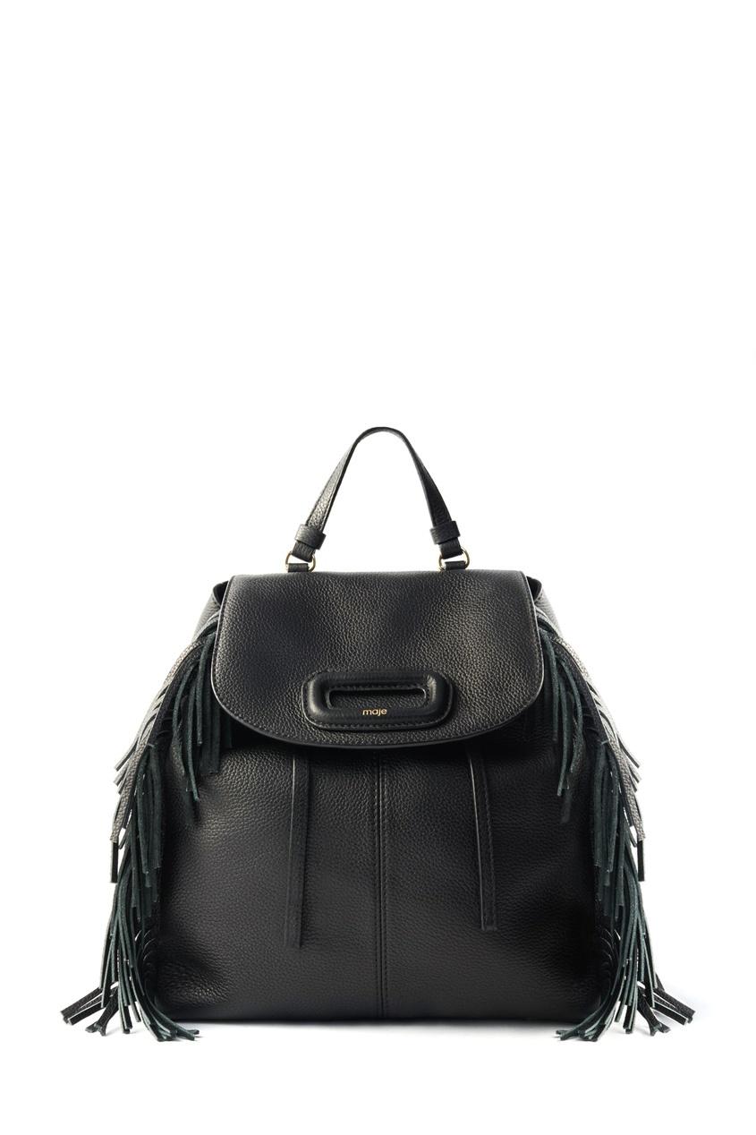 Maje / Черный кожаный рюкзак с бахромой