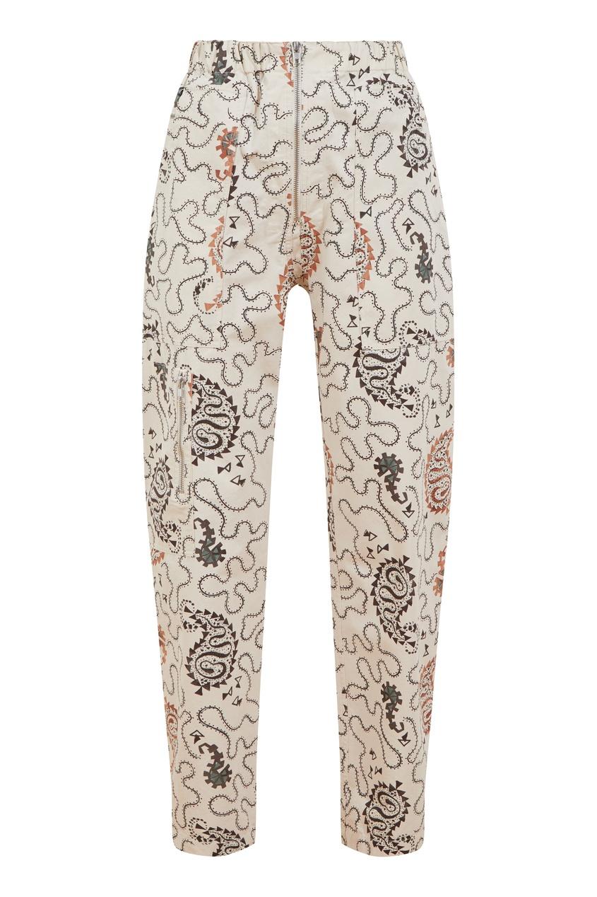 Кремовые хлопковые брюки Isabel Marant Etoile цвет ecru