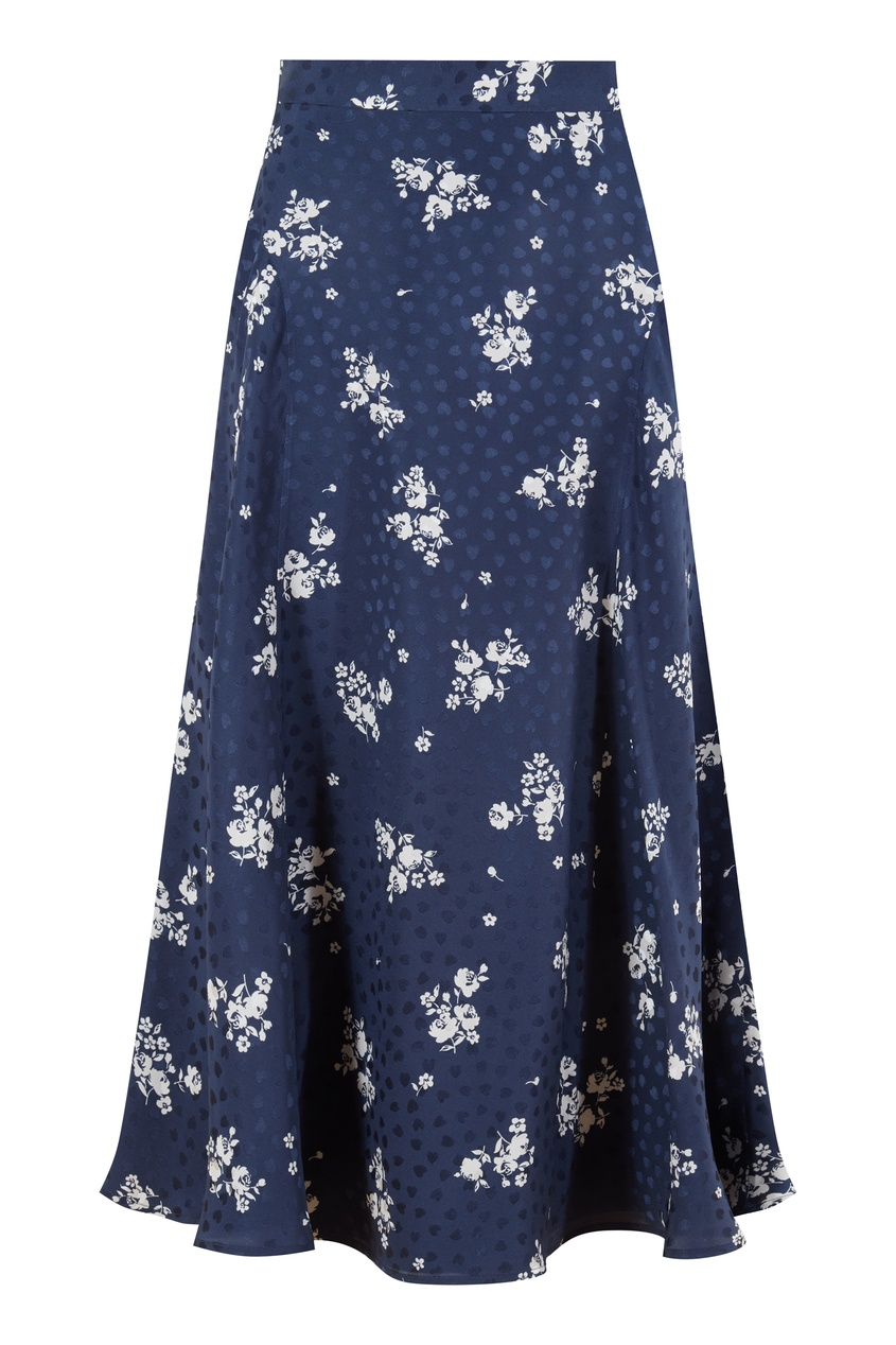 Синяя юбка с белым цветочным принтом