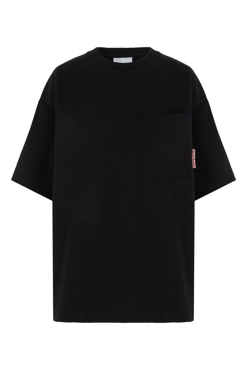 Черная футболка с накладным карманом Acne Studios черного цвета