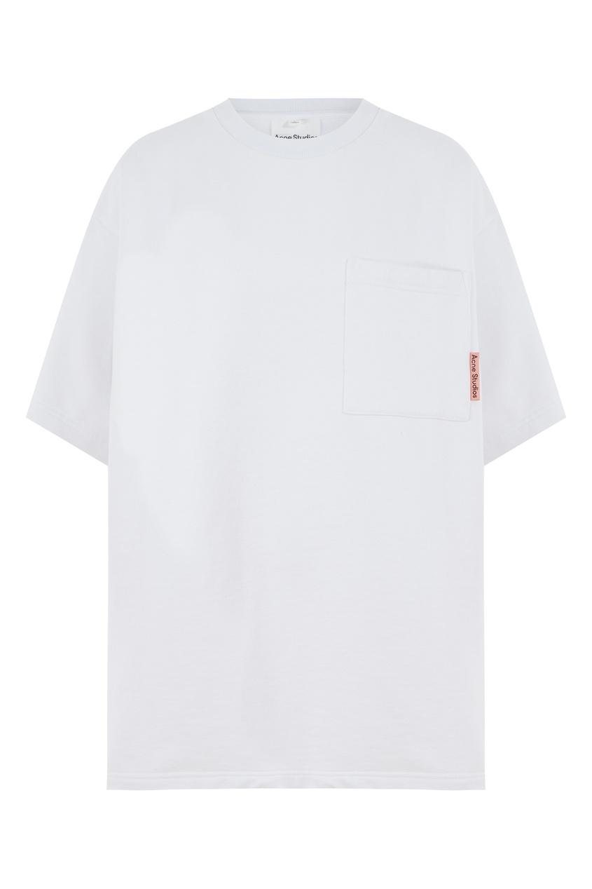Белая футболка с накладным карманом Acne Studios цвет optic white