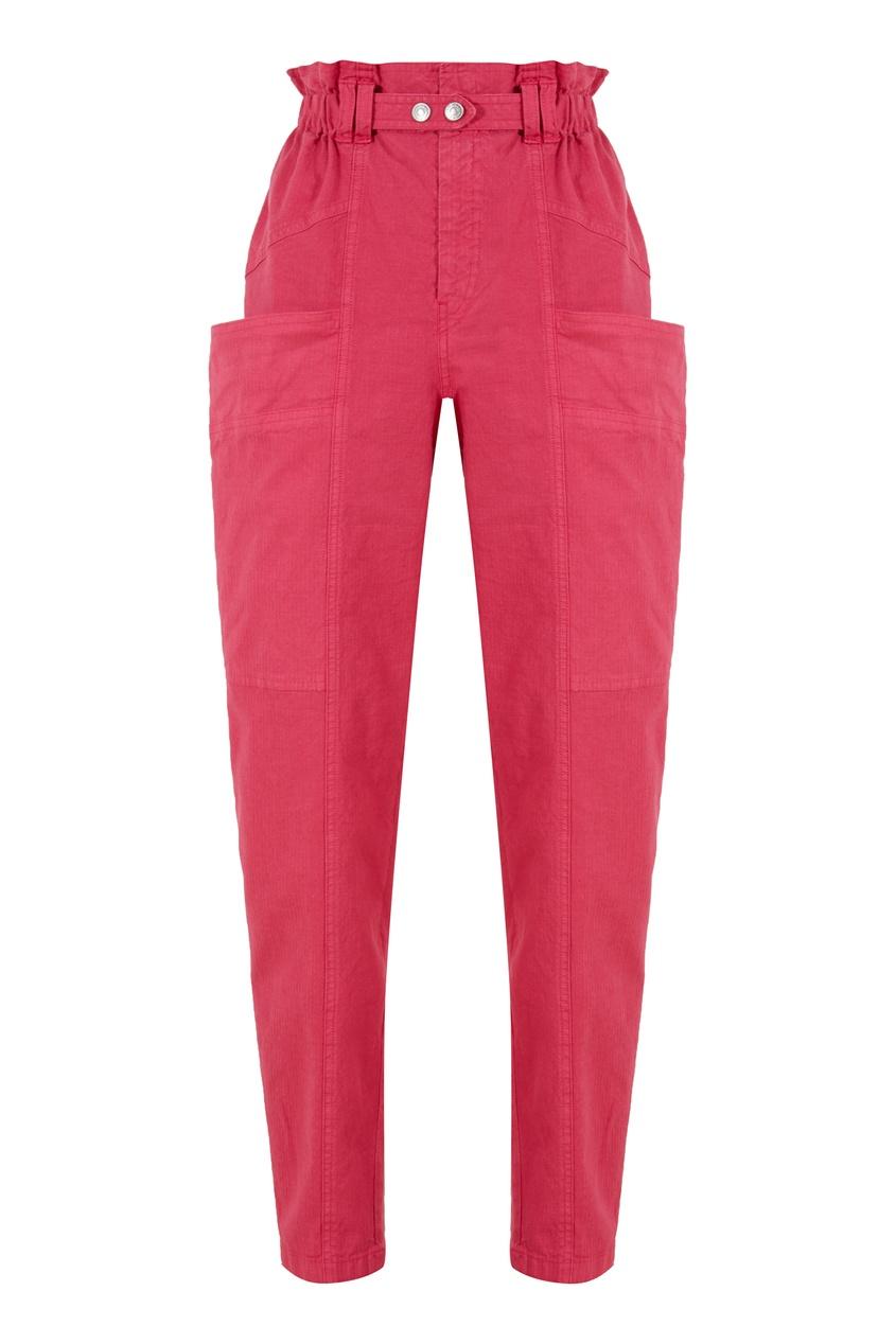 Малиновые брюки из льна и хлопка