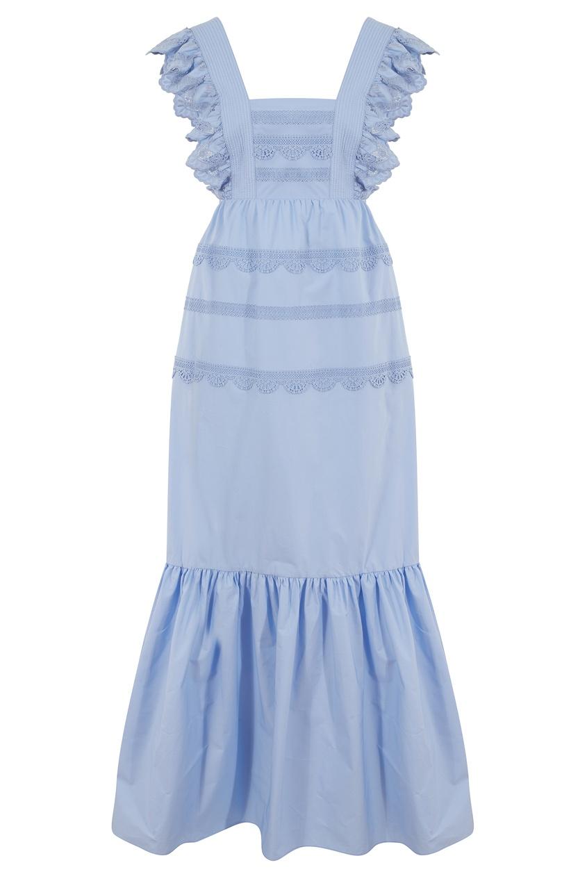 Голубое платье-макси с оборками