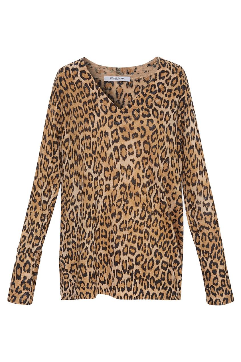 Льняной пуловер с леопардовым принтом