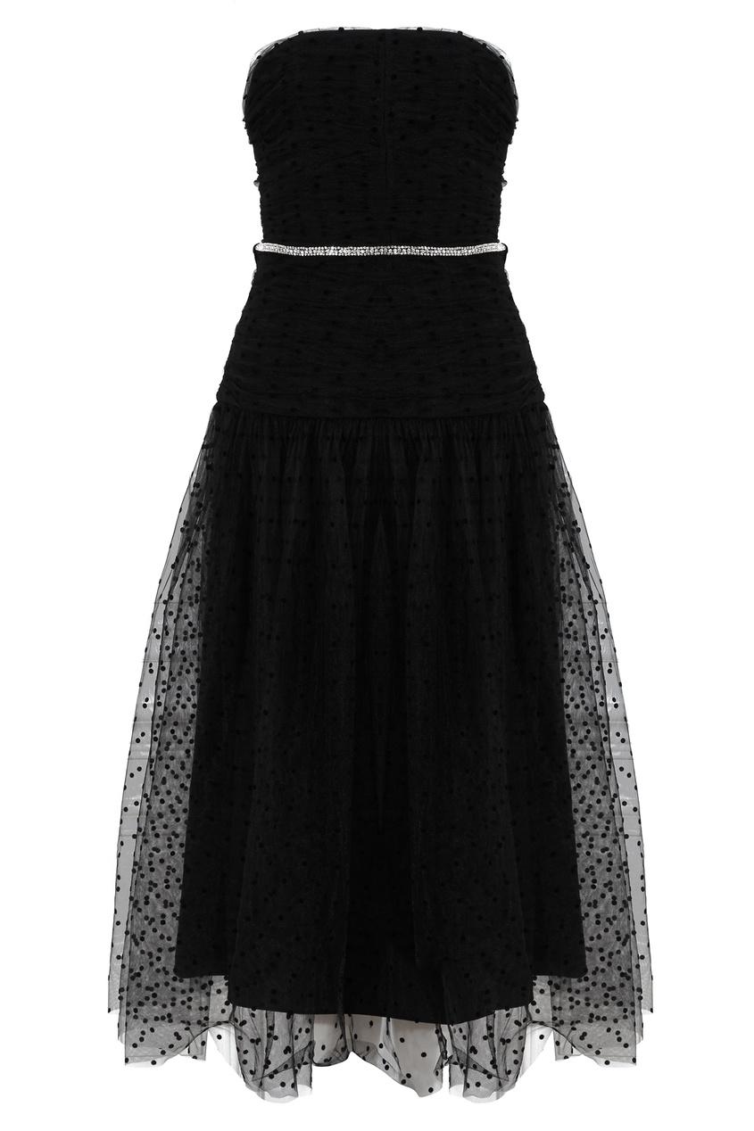 Черное платье-бандо