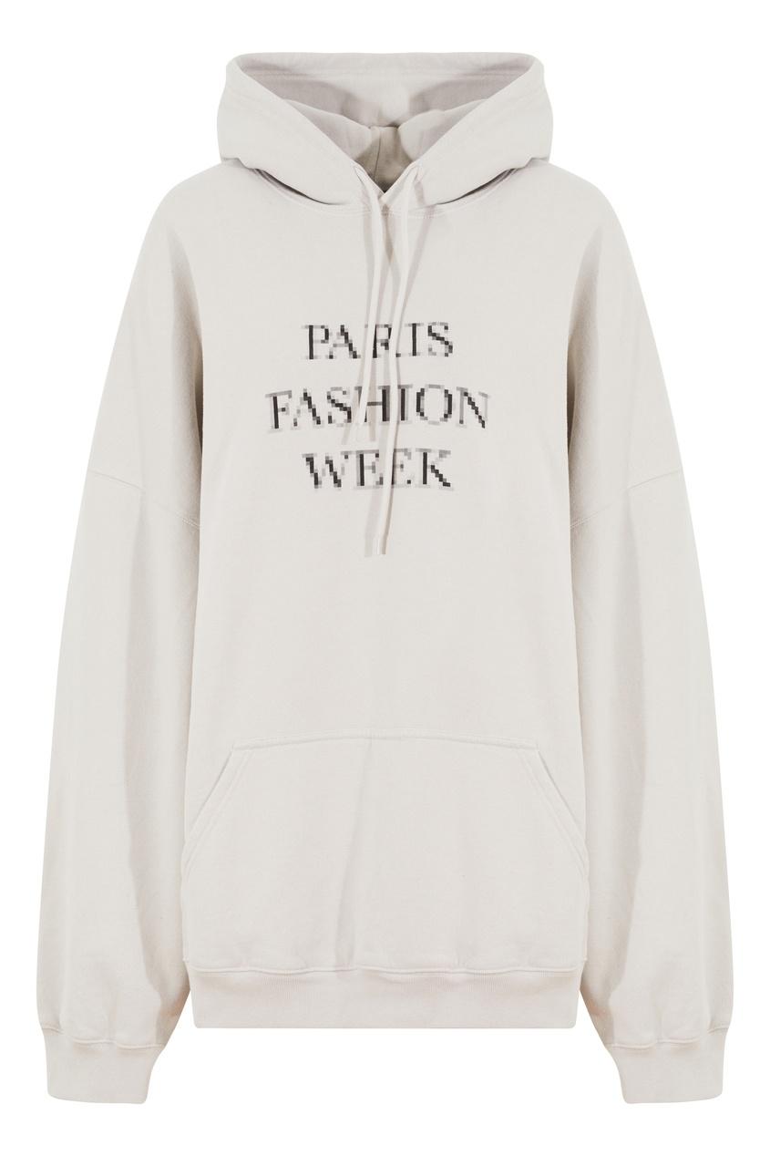 Серое худи с надписью Paris Fashion Week