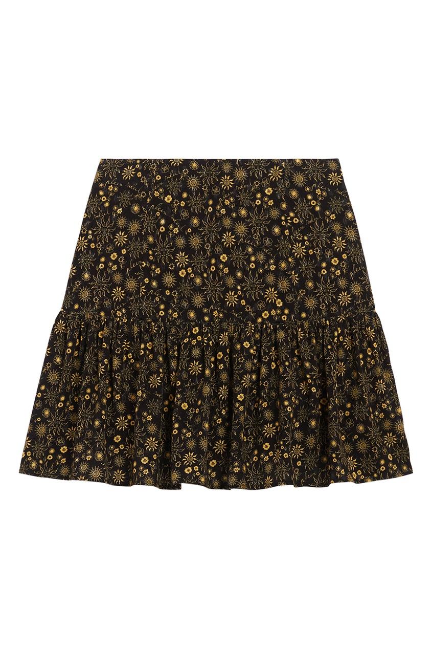 Черная юбка с золотым принтом