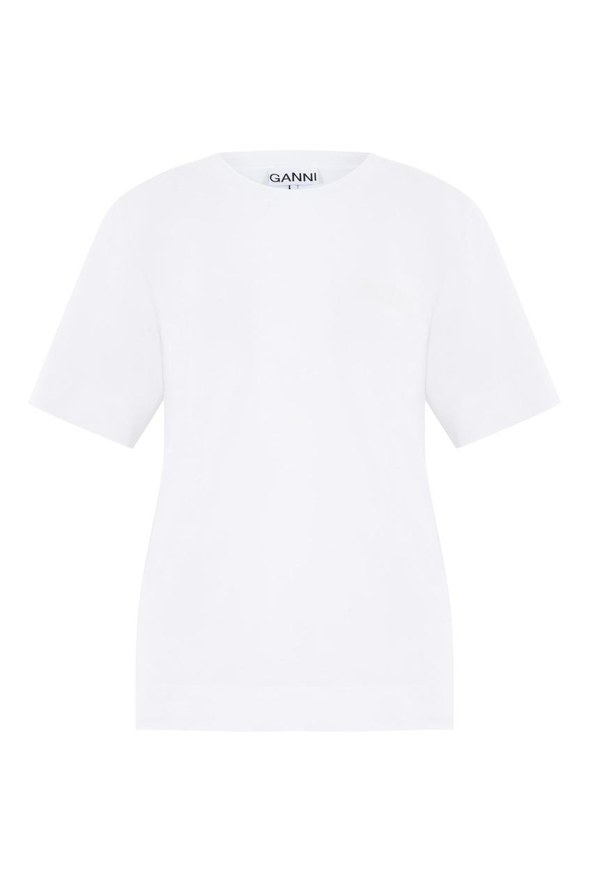 Белая футболка с логотипом Ganni белого цвета