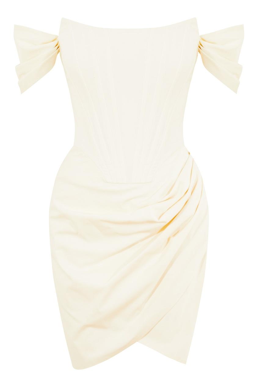 Хлопковое платье-бандо молочного цвета