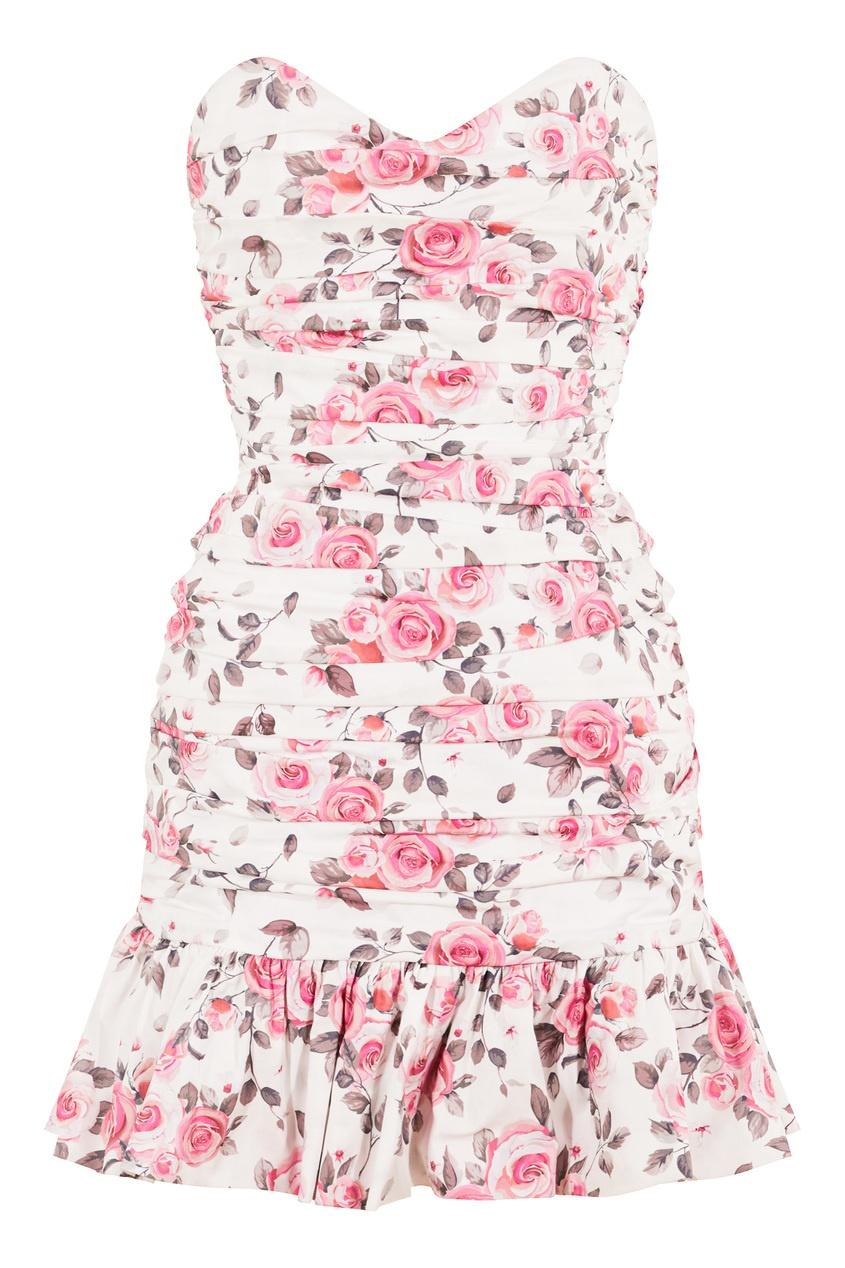Хлопковое платье-бандо с цветочным принтом