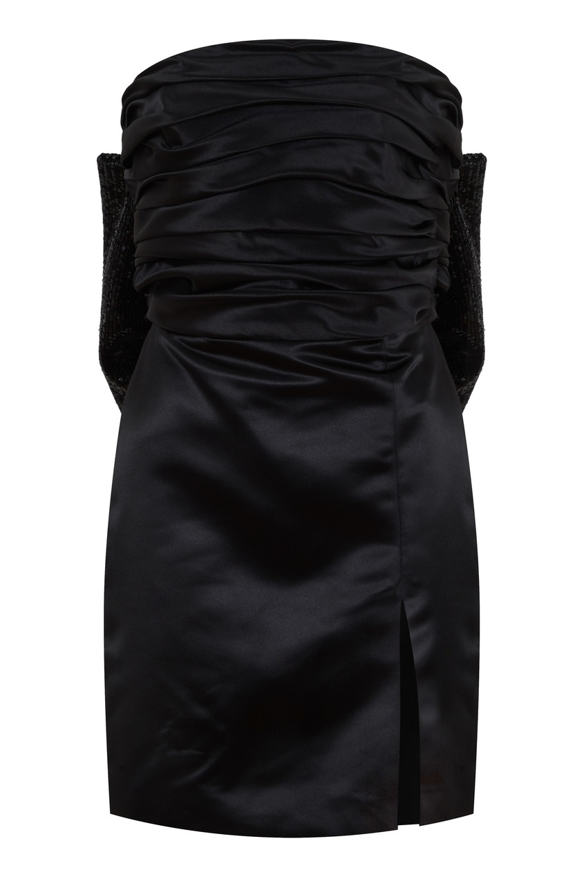 Черное платье-бандо с бантом