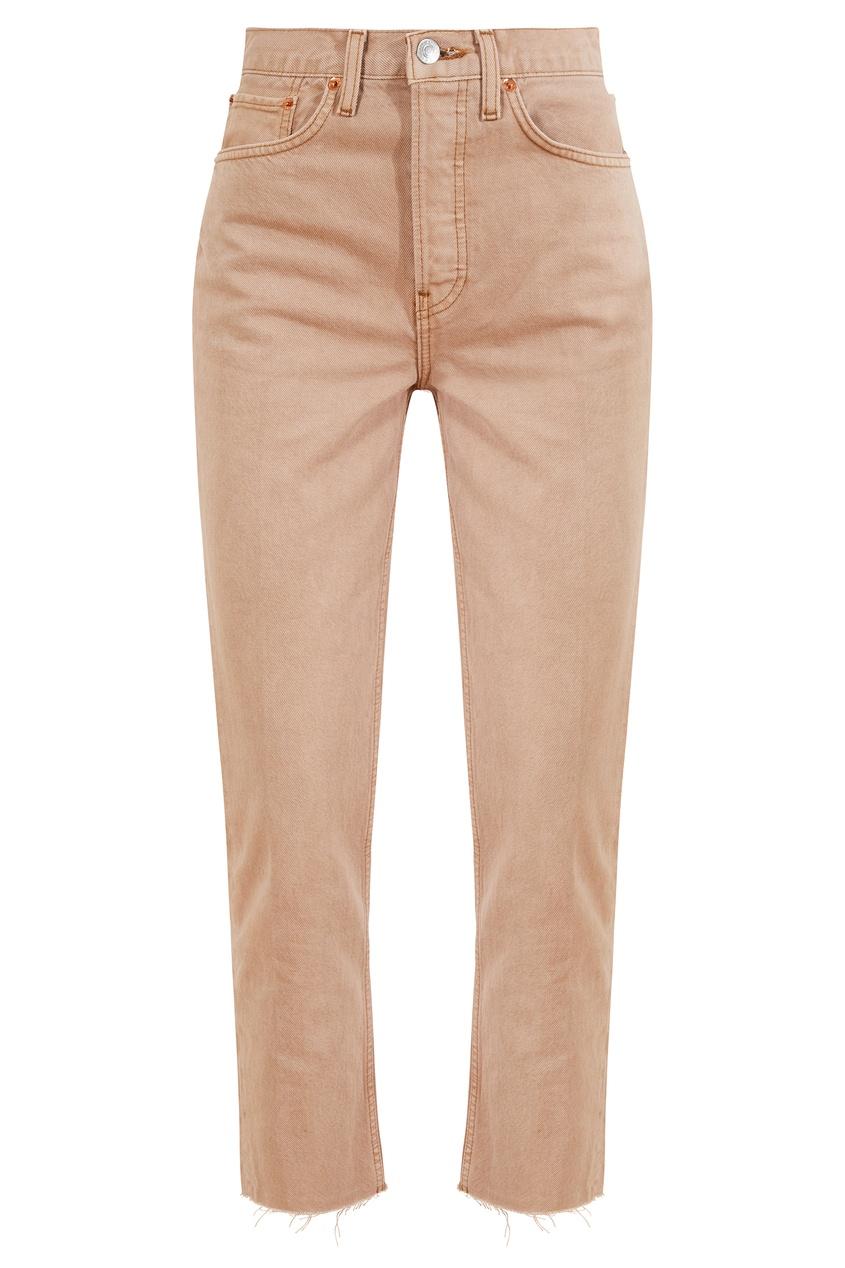 Коричневые укороченные джинсы