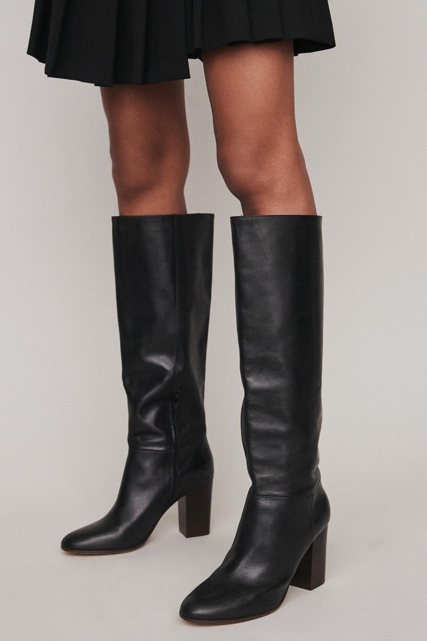 Черные кожаные сапоги Maje Черный 888199166