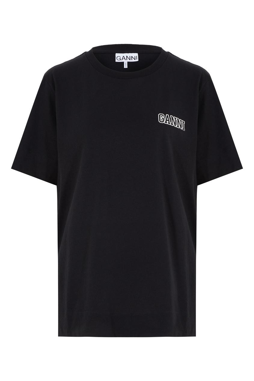 Черная футболка с логотипом Ganni черного цвета