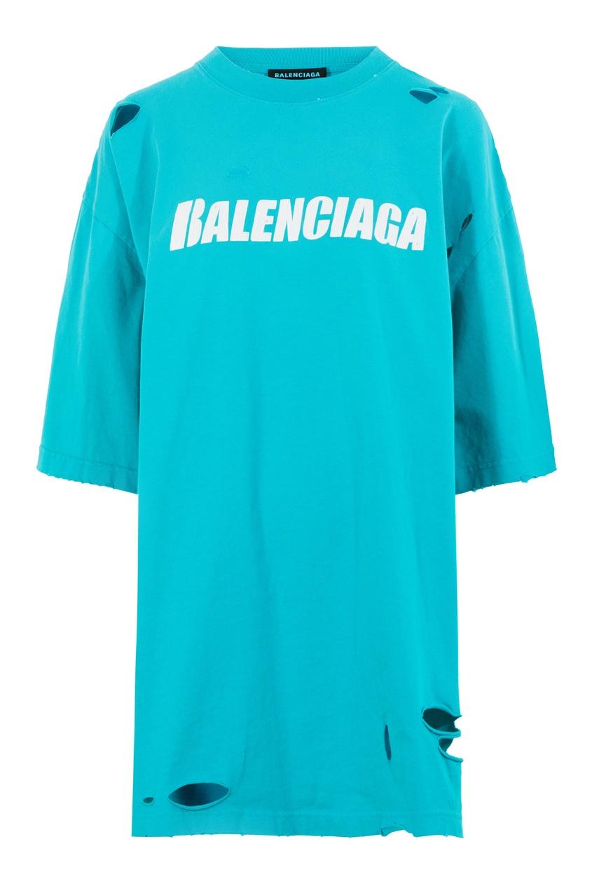 Голубая футболка с разрезами и логотипом Balenciaga цвет turquoise/white