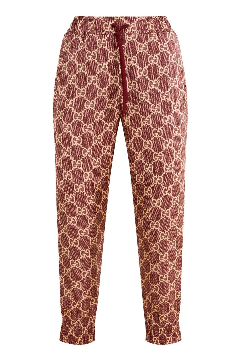 Шелковые брюки с монограммами GG Supreme Gucci цвет sweet berries/rose