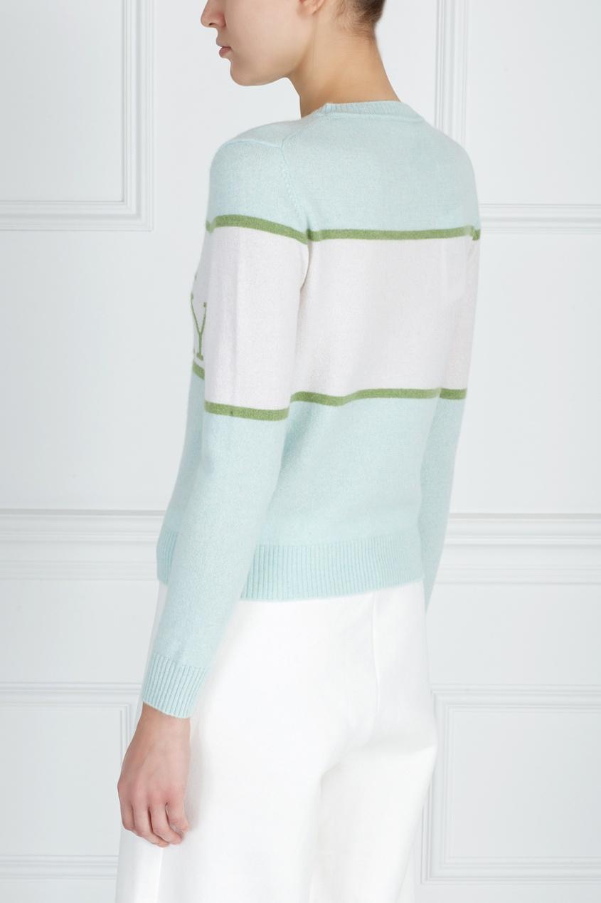 Фото 3 - Кашемировый джемпер зеленого цвета