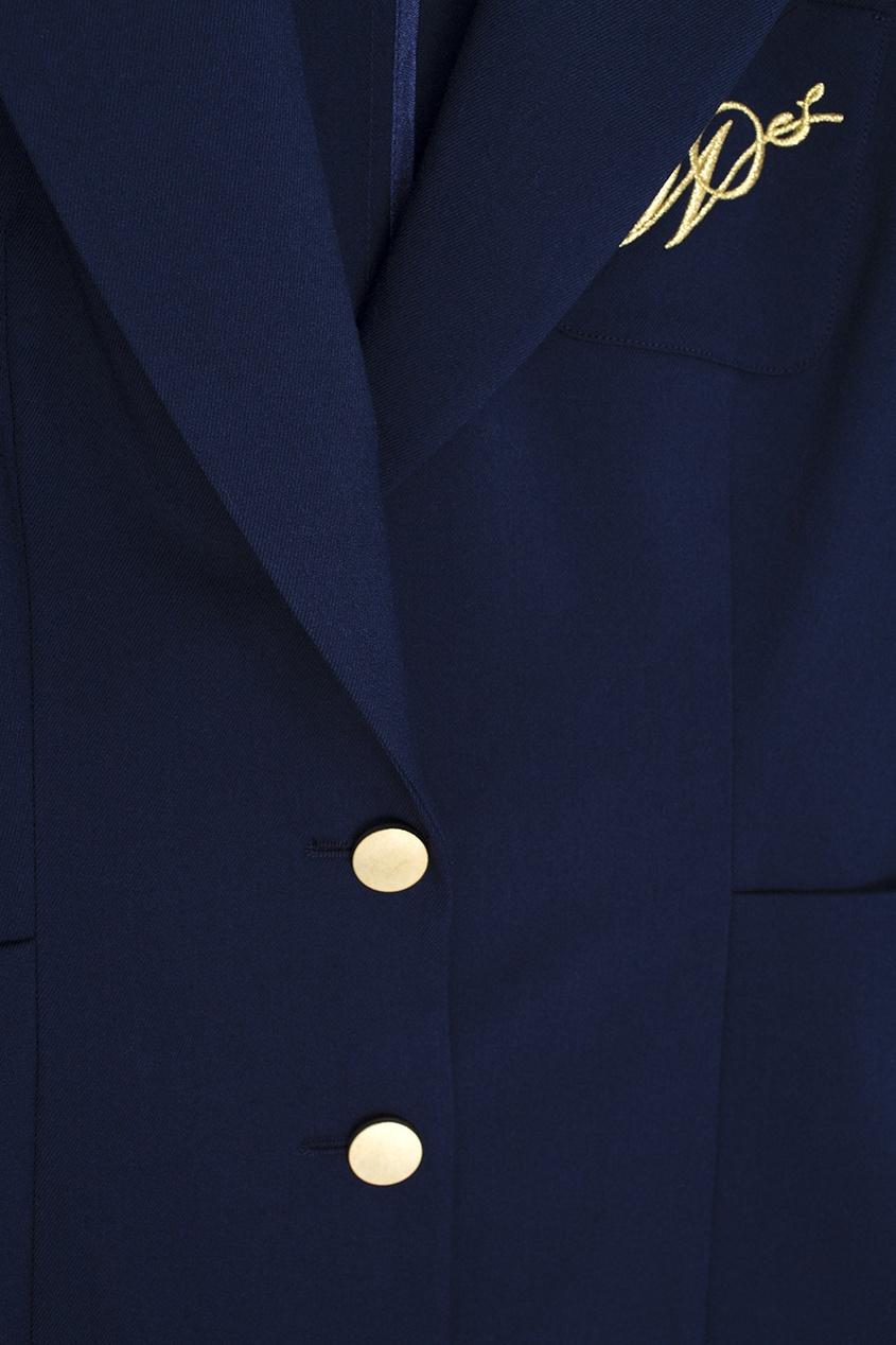 Фото 2 - Однотонный жакет синего цвета