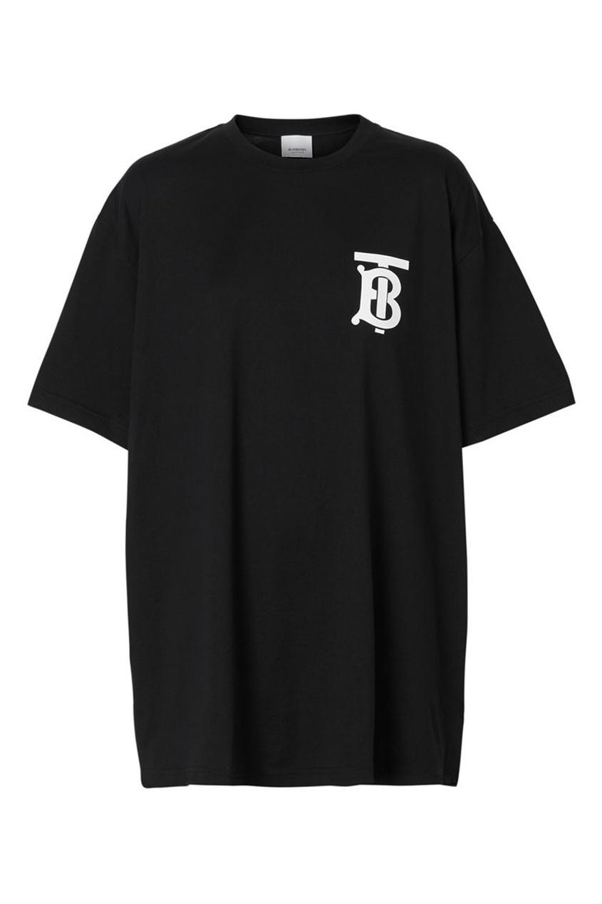 Черная хлопковая футболка оверсайз с монограммой Burberry черного цвета