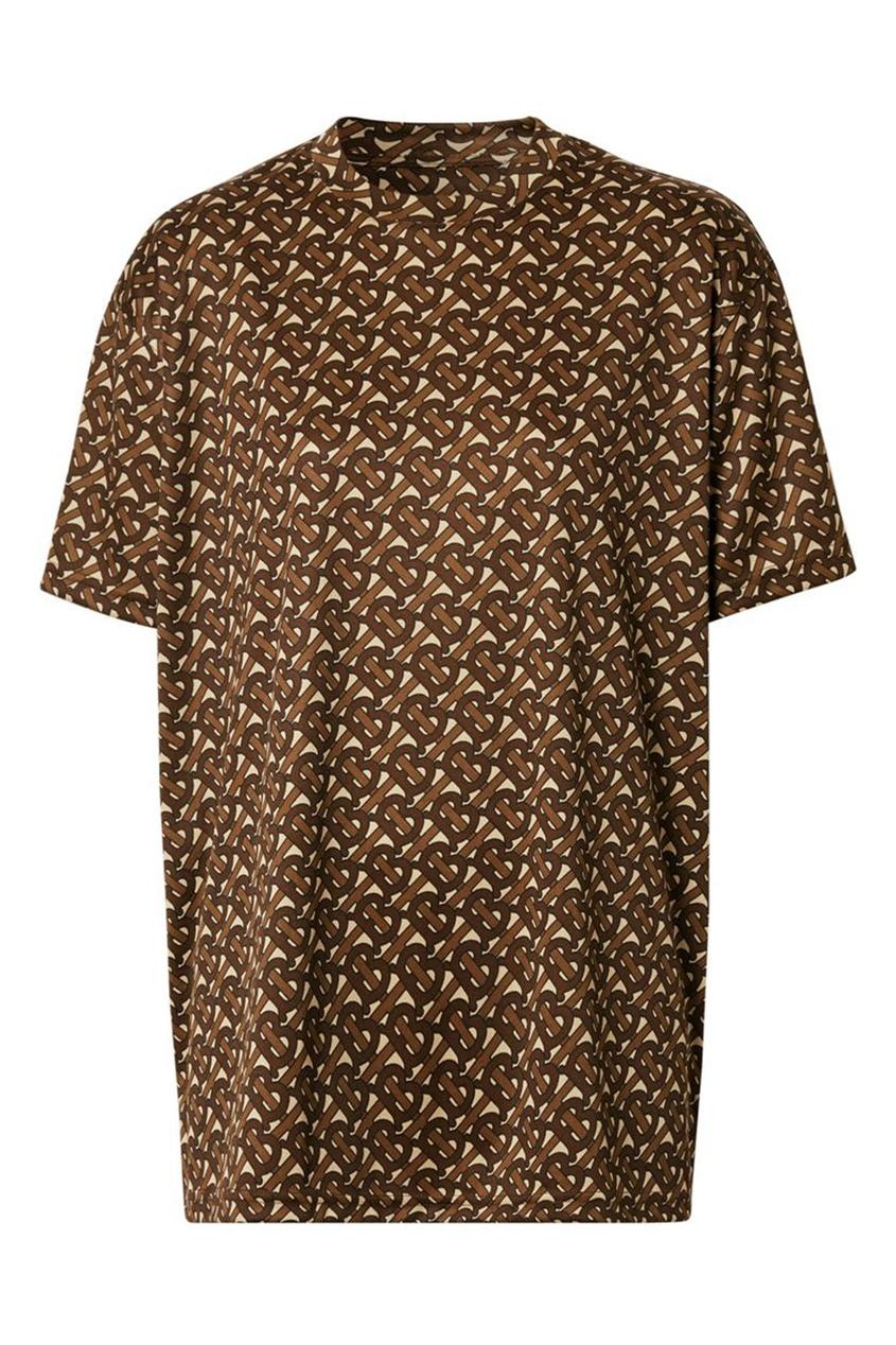 Коричневая футболка с монограммами Burberry коричневого цвета