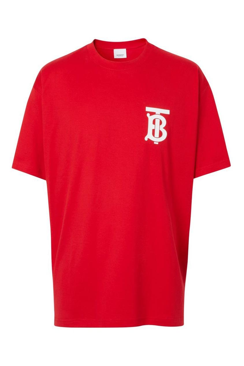 Красная свободная футболка из хлопка Burberry красного цвета